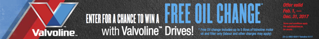 Oil change coupon banner for a free oil change from Valvoline