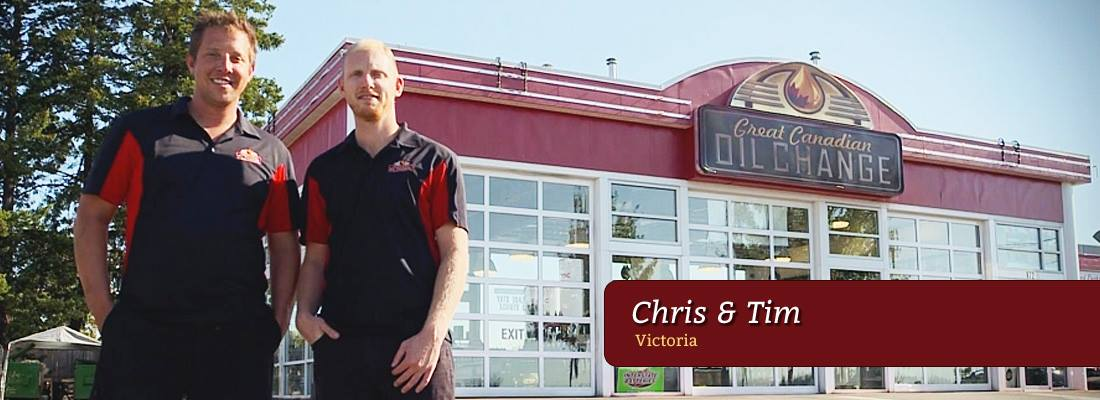 Chris and Tim shown in front of the Victoria oil change location.
