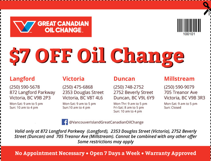 Oil Change Vancouver Island coupon Oil Change 100101