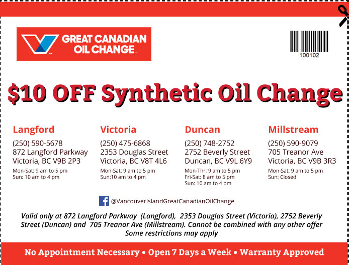 Oil Change Vancouver Island coupon Oil Change 100102