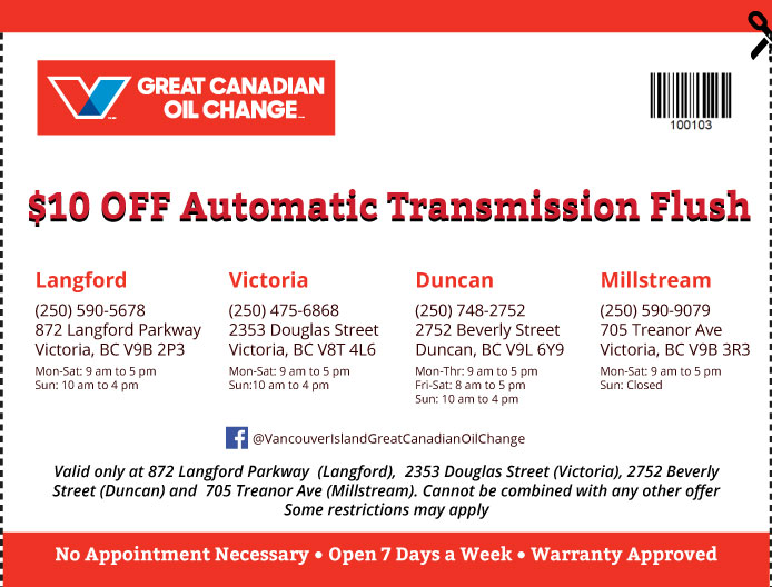 Oil Change Vancouver Island coupon Oil Change 100103
