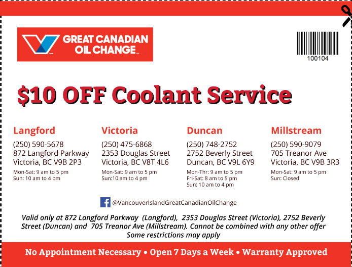 Oil Change Vancouver Island coupon Oil Change 100104