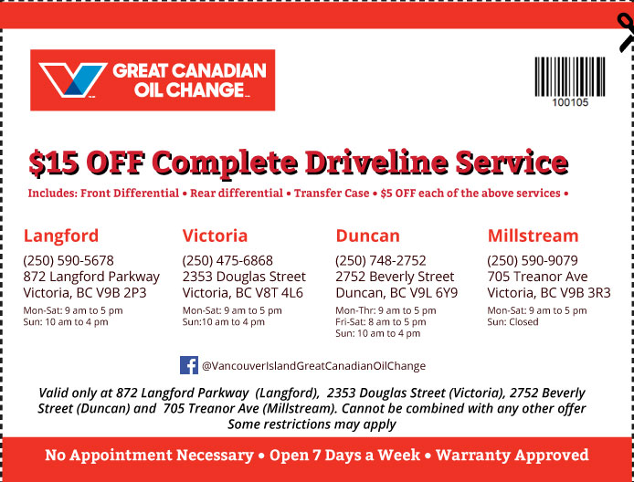 Oil Change Vancouver Island coupon Oil Change 100105
