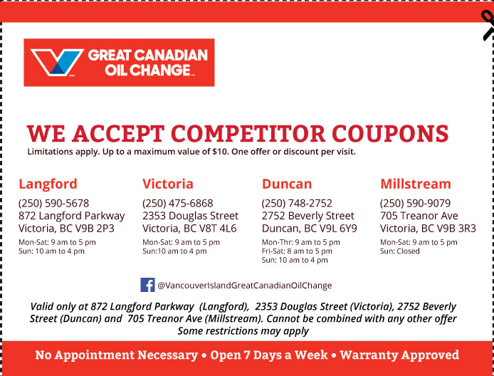 Oil Change Vancouver Island coupon Oil Change Competitors
